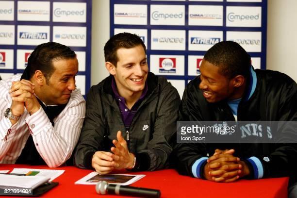 Ghani YALOUZ / Renaud LAVILLENIE / Mickael HANANY Conference de presse avant les championnats de france Elite en salle Bercy Paris