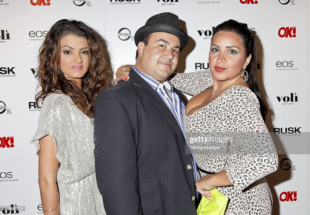 GG Gharachedaghi, Sammy Younai and Mercedes Javid attend the OK! Magazine's sexy singles party at The Roxbury on June 7, 2012 in Hollywood, California.