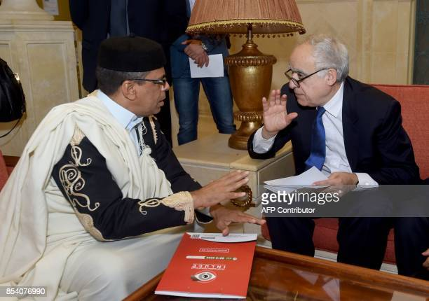 Ghassan Salame special representative to the Secretary General of the United Nations for Libya talks to the president of the supreme council of...