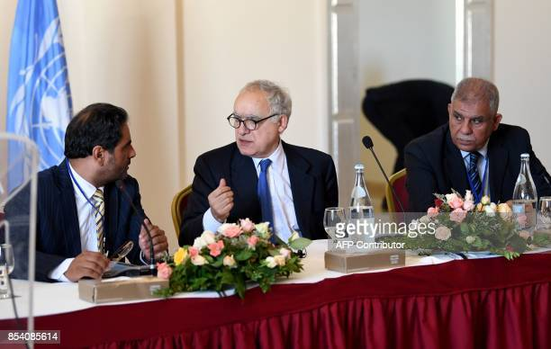 Ghassan Salame special representative to the Secretary General of the United Nations for Libya attends a meeting in the Tunisian capital Tunis on...