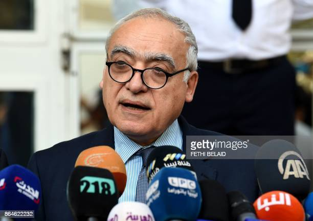Ghassan Salame special representative to the Secretary General of the United Nations for Libya holds a press conference in the Tunisian capital Tunis...