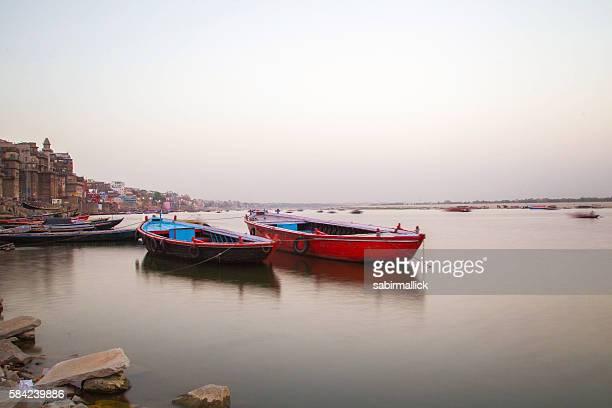Ghat on Holy river Ganges, Varanasi, India.