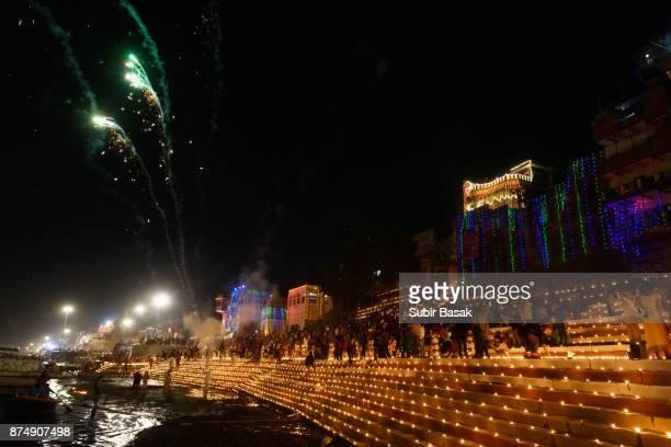 Ghats of Varanasi light up with  small 'diyas'(earthen lamps) during Diwali.