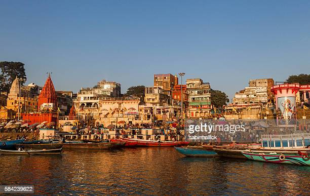 Ghats on the Ganges River, Varanasi, India.