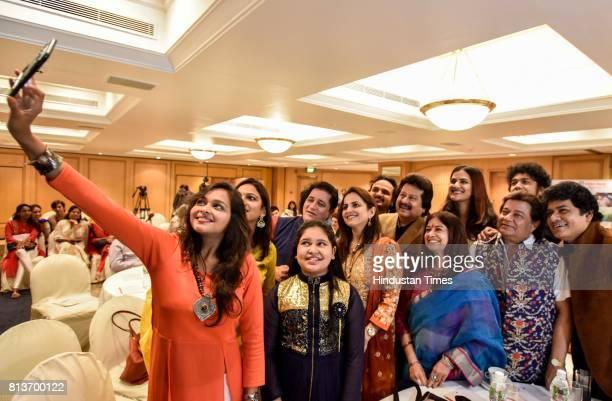 Ghazal singers Pankaj Udhas Mitali Singh Anup Jalota Talat Aziz Rekha Bharadwaj Sudeep Banerjee Sonal Mahapatra Pooja Gaitonde after the announcement...
