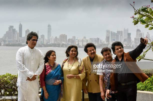 Ghazal singers Talat Aziz Rekha Bhardwaj Mitali Singh Pankaj Udhas Anup Jalota and Sudeep Banerjee after the announcement of the 16th Khazana Ghazal...