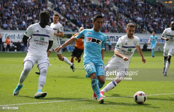 20170430 Ghent Belgium / Kaa Gent v Rsc Anderlecht / 'nKara MBODJI Yuya KUBO Alexandru CHIPCIU'nJupiler Pro League PlayOff 1 Matchday 6 at the...