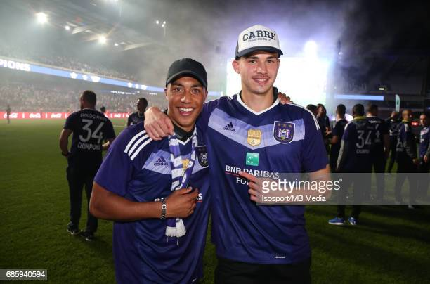 20170518 Ghent Belgium / Rsc Anderlecht Champion Party at the Constant Vanden Stock stadium/'nYouri TIELEMANS Leander DENDONCKER'nPicture by Vincent...