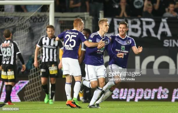 20170518 Ghent Belgium / Sporting Charleroi v Rsc Anderlecht /'nAdrien TREBEL Lukasz TEODORCZYK Leander DENDONCKER Vreugde Joie Celebration'nJupiler...