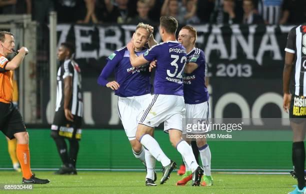 20170518 Ghent Belgium / Sporting Charleroi v Rsc Anderlecht /'nLukasz TEODORCZYK Leander DENDONCKER Adrien TREBEL Vreugde Joie Celebration'nJupiler...