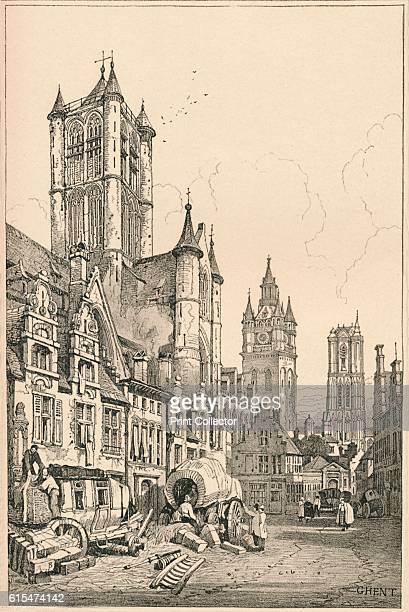 Ghent' c1820 From Sketches by Samuel Prout edited by Charles Holme [The Studio Ltd London Paris New York 1915] Artist Samuel Prout