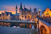 Image of Ghent, Belgium during twilight blue hour.