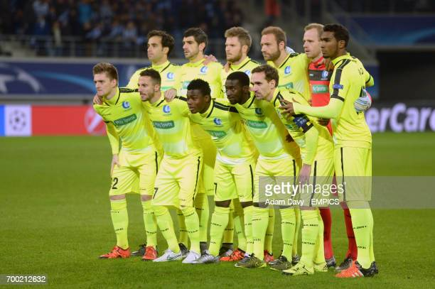 Ghent post for a group photo befre the game Ghent's Rafael Scapini de Almeida Stefan Mitrovic Lasse Nielsen Laurent Depoitre Matz Sels and Renato...