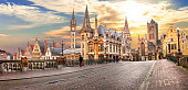 Beautiful medieval Ghent over sunset.Belgium.