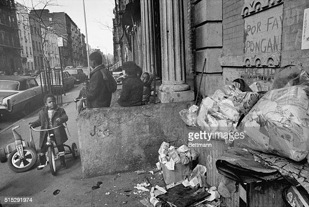 Ghetto Playground New York New York No place to play but in the streets the big problem of children living in a New York ghetto neighborhood With...