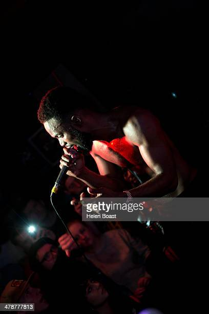 Ghetts performs on stage at O2 Islington Academy on March 14 2014 in London United Kingdom