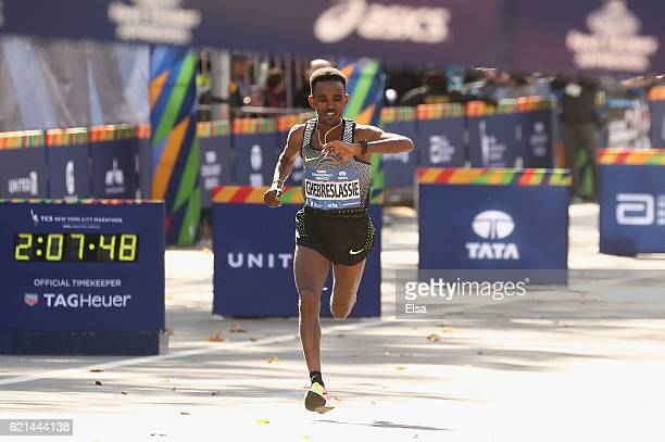 Ghirmay Ghebreslassie of Eritrea approaches finish line to finish first in the Professional Men's Division during the 2016 TCS New York City Marathon...