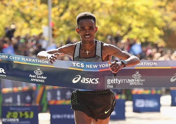 Ghirmay Ghebreslassie of Eritrea crosses the finish line to finish first in the Professional Men's Division during the 2016 TCS New York City...