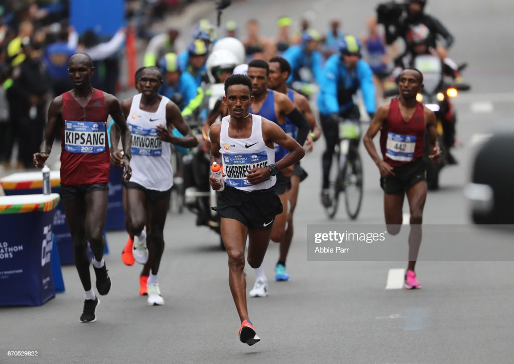 Ghirmay Ghebreslassie of Eritrea leads the pack in the Professional Men's Division during the 2017 TCS New York City Marathon on November 5, 2017 in New York City.