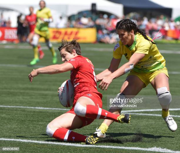 Ghislaine Landry scores for Canada against Australia on day two of HSBC Canada Women's Sevens Rugby action at Westhills Stadium in Langford Canada...