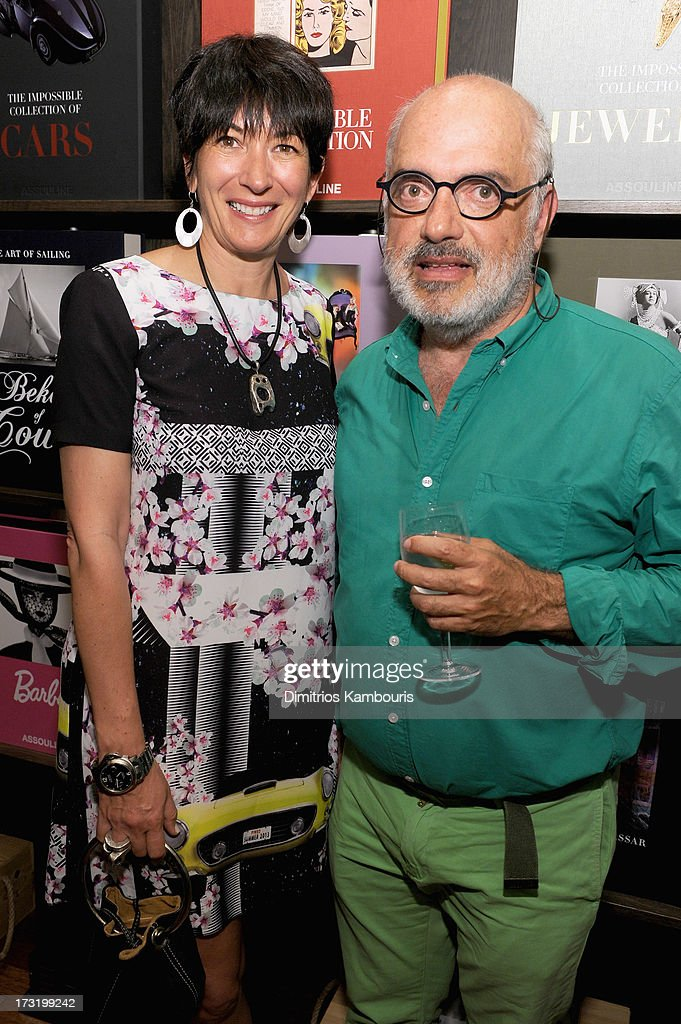 Ghislaine Maxwell (L) and Ron Agam attend Martine and Prosper Assouline host book signing for author Berenice Vila Baudry's 'French Style' with the Ambassador of France Francois Delattre at Assouline at The Plaza Hotel on July 9, 2013 in New York City.