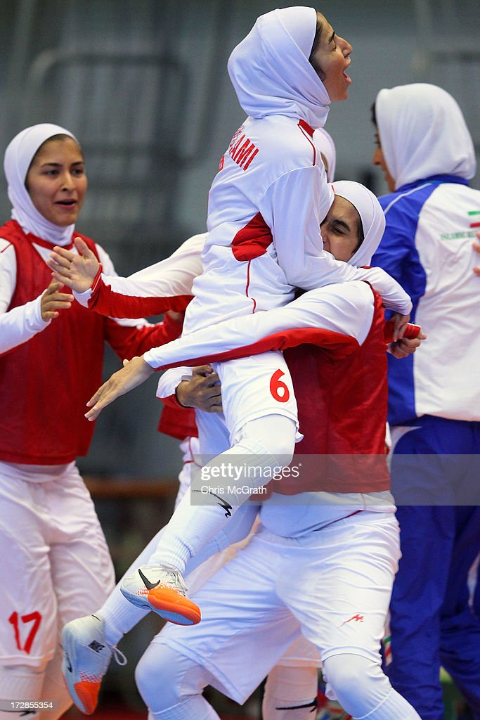Gholami Nasimeh Sadat #6 of Iran celebrates scoring a goal against Japan during the Women's Futsal Gold Medal match at Songdo Global University Campus Gymnasium during day seven of the 4th Asian Indoor & Martial Arts Games on July 5, 2013 in Incheon, South Korea.