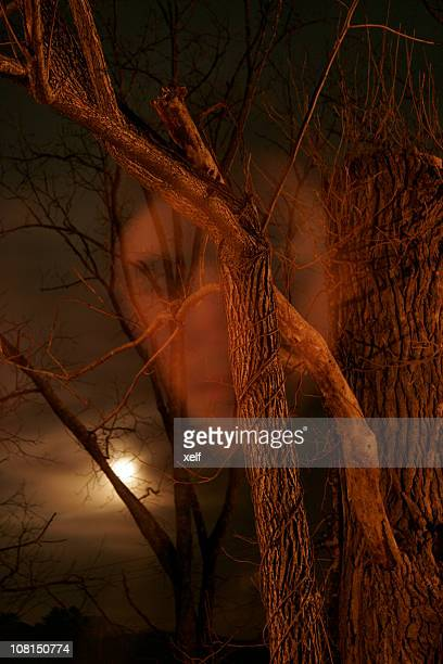 Ghost face in woods at night