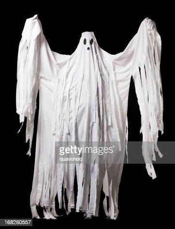 Ghost Halloween Costume, Full Body Portrait on Black