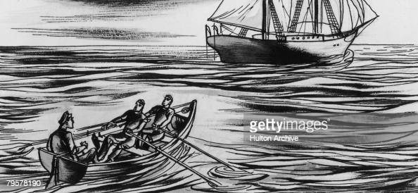 The crew of the 'Dei Gratia' approach the brigantine 'Mary Celeste' sailing unmanned in the Atlantic Ocean 4th/5th December 1872 Not a soul was left...
