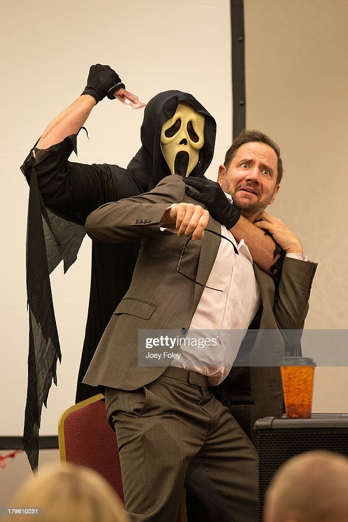 Ghostface and <a gi-track='captionPersonalityLinkClicked' href=/galleries/search?phrase=Jamie+Kennedy&family=editorial&specificpeople=206976 ng-click='$event.stopPropagation()'>Jamie Kennedy</a> (R) onstage during a Q&A panel at Marriott Indianapolis on September 6, 2013 in Indianapolis, Indiana.