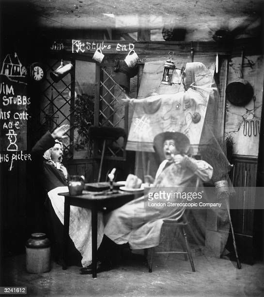 A ghostly figure appears to a couple eating their dinner in a country cottage London Stereoscopic Company Comic Series 225