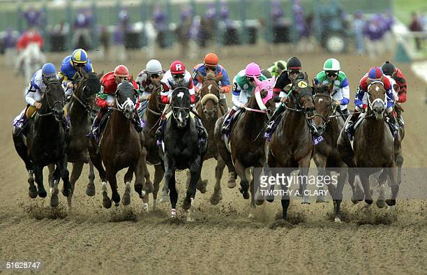 Ghostzapper with jockey Javier Castellano is in the front of the pack as they leave the starting gate on his way to winning the four milliondollar...