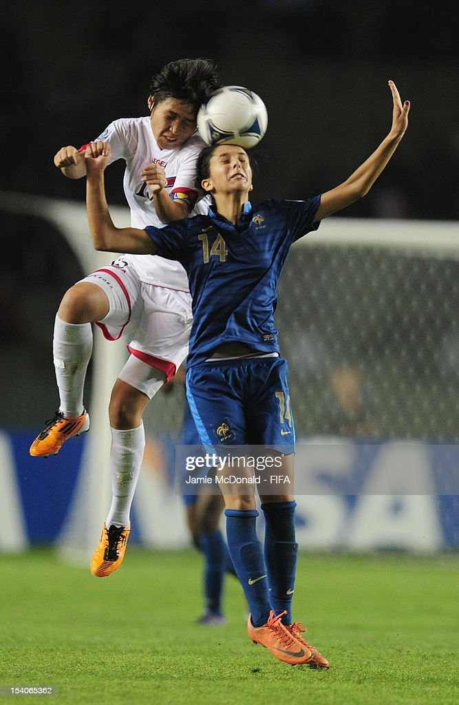 Ghoutia Karchouni of France battles with Chung Bok Choe of Korea DPR during the FIFA U-17 Women's World Cup 2012 Final match beween France and Korea DPR at Tofig Bahramov Stadium on October 13, 2012 in Baku, Azerbaijan.