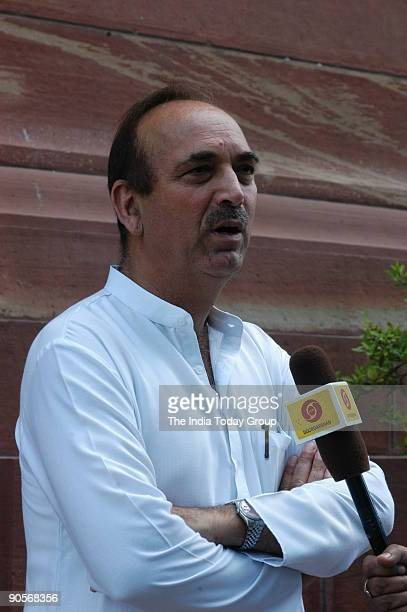 Ghulam Nabi Azad Chief Minister of Jammu and Kashmir at Parliament House in New Delhi India