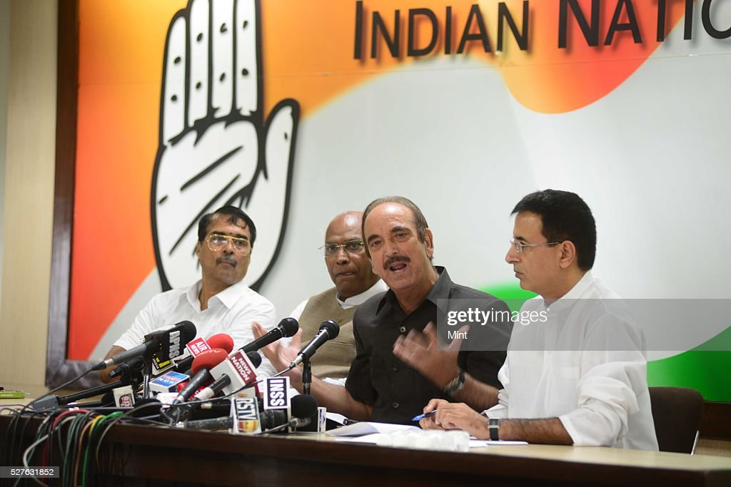 Ghulam Nabi Azad - Leader of opposition in Rajya Sabha addressing the media at congress party office on August 14, 2015 in New Delhi, India.