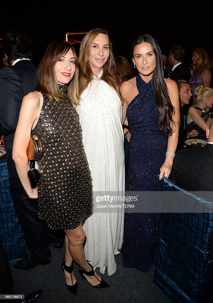 Gia Coppola, Jacqui Getty, and actress Demi Moore, wearing Ferragamo, attend the Wallis Annenberg Center for the Performing Arts Inaugural Gala presented by Salvatore Ferragamo at the Wallis Annenberg Center for the Performing Arts on October 17, 2013 in Beverly Hills, California.