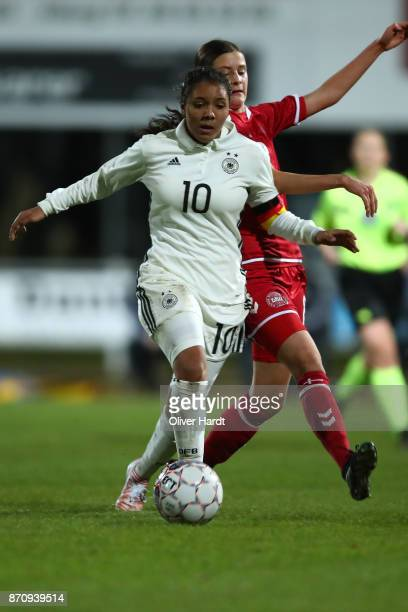 Gia Corley of Germany and Signe Carstens of Denmark compete for the ball during the U16 Girls international friendly match betwwen Denmark and...