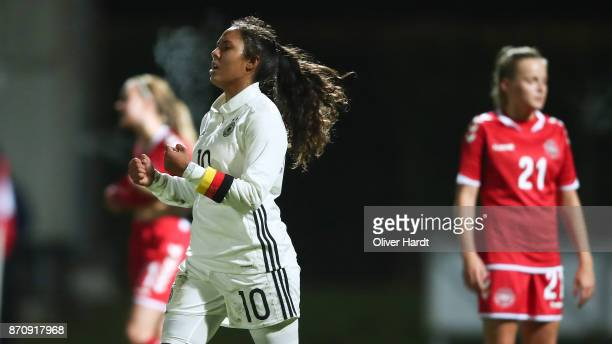 Gia Corley of Germany celebrate her first goal during the U16 Girls international friendly match betwwen Denmark and Germany at the Skive Stadion on...
