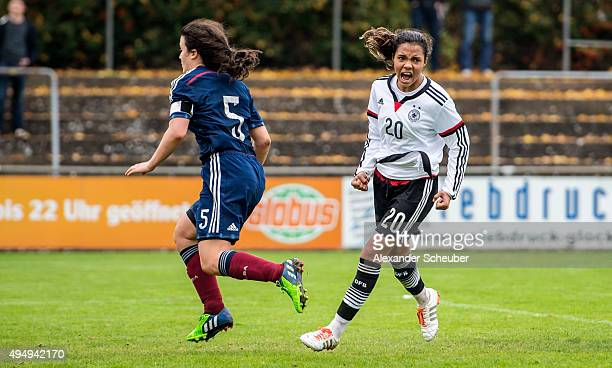 Gia Corley of Germany celebrates the sixth goal for her team during the international friendly match between U15 Girl's Germany and U15 Girl's...