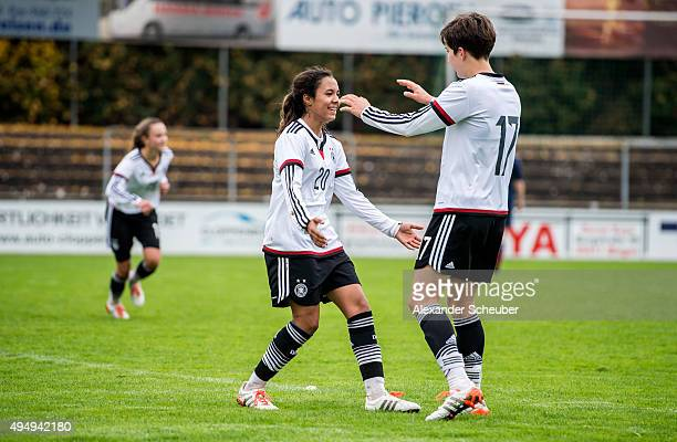 Gia Corley of Germany celebrates the sixth goal for her team with Corinna Statz of Germany during the international friendly match between U15 Girl's...