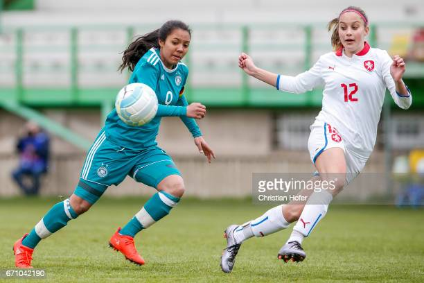 Gia Corley of Germany challenges Aneta Sovakova of Czech Republic for the ball during the Under 15 girls international friendly match between Czech...