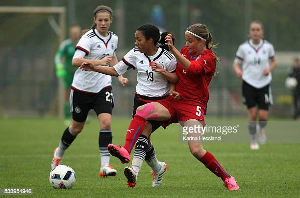 Gia Corley of Germany challenges Aneta Sovakova of Czech Republic during the International Friendly match between U15 Girls Germany and U15 Girls...