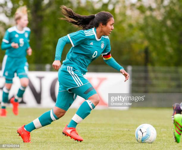 Gia Corley of Germany controls the ball during the Under 15 girls international friendly match between Czech Republic and Germany on April 19 2017 at...