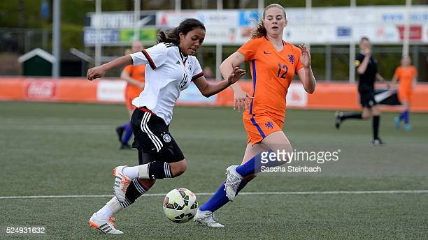Gia Corley of Germany goes past Gwyneth Hendriks of Netherlands during the U17 Girl's international friendly match between Netherlands and Germany on...