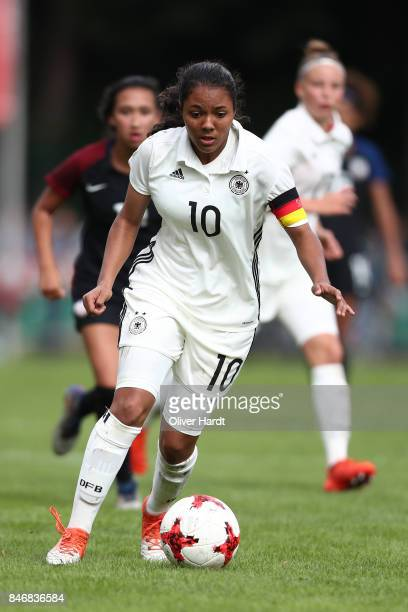 Gia Corley of Germany in action during the Girls U16 international friendly match between Germany and United States at Krandelstadion on September 14...
