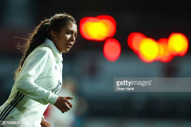 Gia Corley of Germany in action during the U16 Girls international friendly match betwwen Denmark and Germany at the Skive Stadion on November 6 2017...