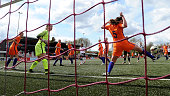 Gia Corley of Germany misses a chance at goal from a header as Jasmijn Dijsselhof of Netherlands clears the ball on the line during the U17 Girl's...