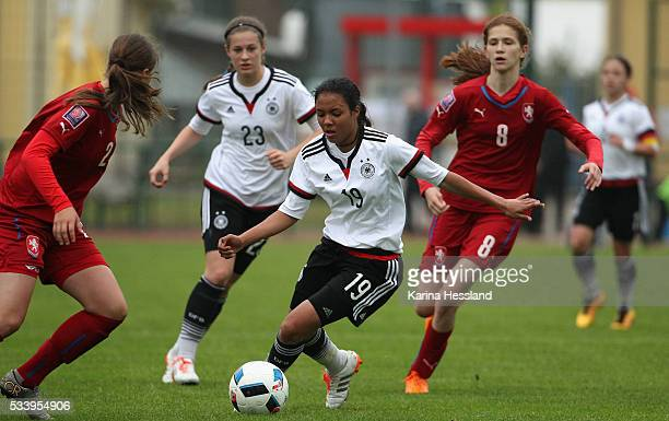 Gia Corley of Germany on the ball during the International Friendly match between U15 Girls Germany and U15 Girls Czech Republic at Auenstadion on...