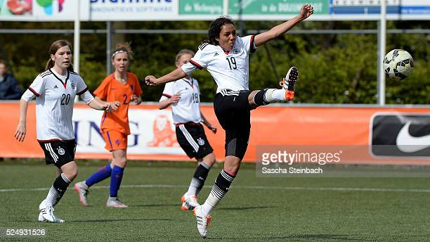 Gia Corley of Germany plays the ball during the U17 Girl's international friendly match between Netherlands and Germany on April 27 2016 in Rijssen...