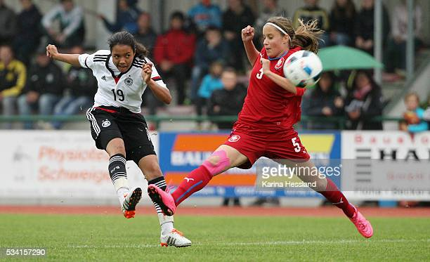 Gia Corley of Germany scores the fourth goal Aneta Sovakova of Czech Republic without a chance during the International Friendly match between U15...